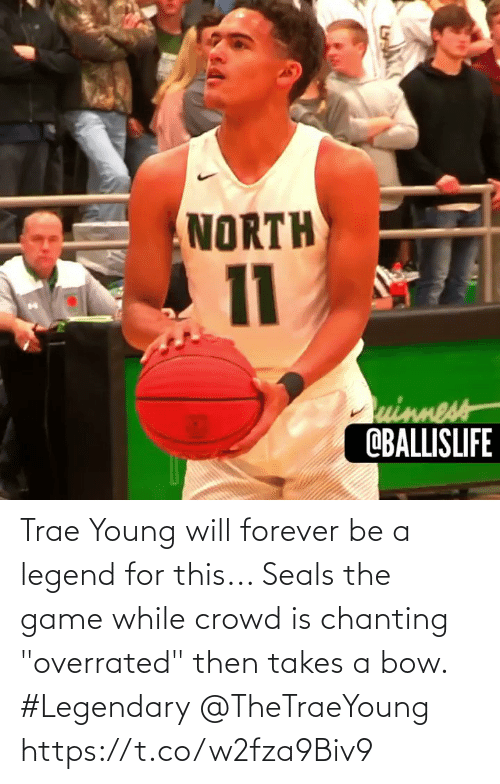 "bow: Trae Young will forever be a legend for this... Seals the game while crowd is chanting ""overrated"" then takes a bow. #Legendary @TheTraeYoung https://t.co/w2fza9Biv9"