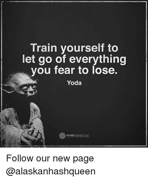 Memes, Yoda, and 🤖: Train yourself to  let go of everything  you fear to lose.  Yoda  HIGHER PERSPECTIVE Follow our new page @alaskanhashqueen