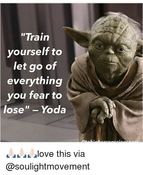 "Memes, Train, and Fear: ""Train  yourself to  let go of  everything  you  fear to  lose""Yoda 🙏🏻🙏🏻🙏🏻love this via @soulightmovement"