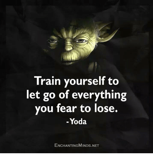 Memes, Yoda, and Fear: Train yourself to  let go of everything  you fear to lose.  Yoda  ENCHANTINGMINDs.NET