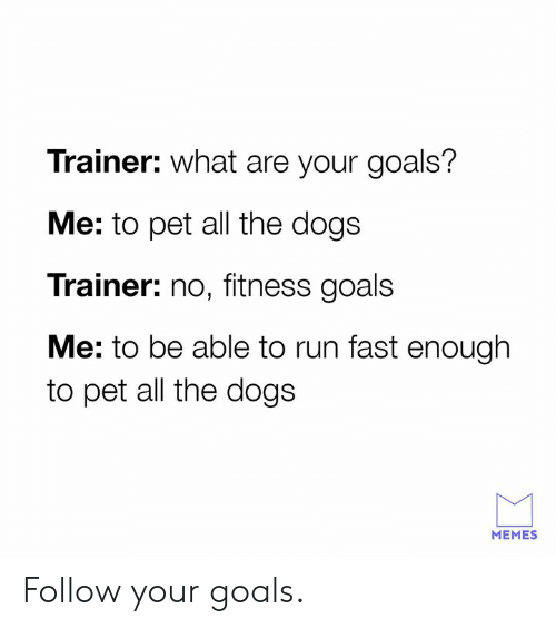 Dank, Dogs, and Goals: Trainer: what are your goals?  Me: to pet all the dogs  Trainer: no, fitness goals  Me: to be able to run fast enough  to pet all the dogs  MEMES Follow your goals.