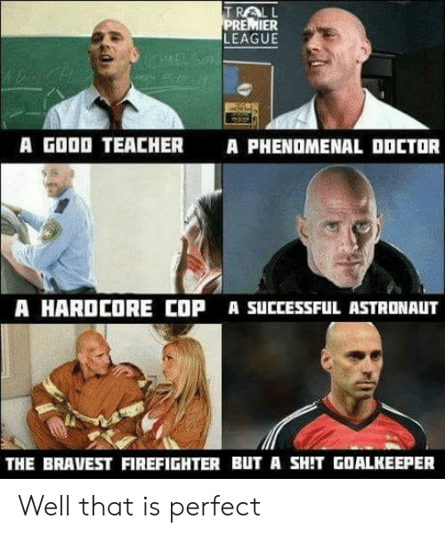 Phenomenal, Premier League, and Shit: TRALL  PREMIER  LEAGUE  A GOOD TEACHER  A PHENOMENAL OOCTOR  A HARDCORE COP A SUCCESSFUL ASTRONAUT  THE BRAVEST FIREFIGHTER BUT A SHIT GOALKEEPER Well that is perfect