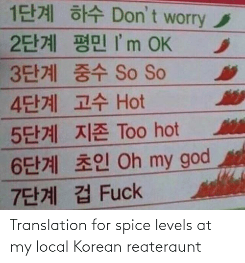 Levels: Translation for spice levels at my local Korean reateraunt