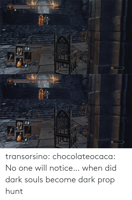 Become: transorsino:  chocolateocaca:  No one will notice…  when did dark souls become dark prop hunt