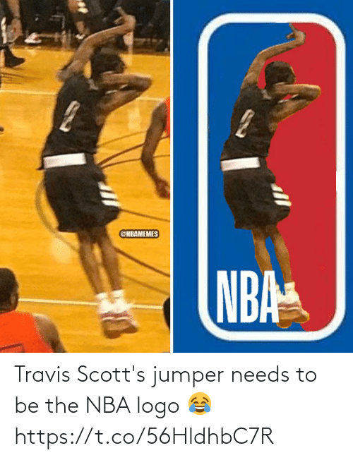 logo: Travis Scott's jumper needs to be the NBA logo 😂 https://t.co/56HldhbC7R