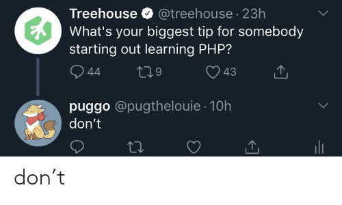 Php, Treehouse, and Don: Treehouse @treehouse 23h  What's your biggest tip for somebody  starting out learning PHP?  LL  44  43  puggo @pugthelouie 10h  don't don't