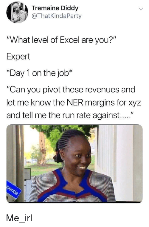 """xyz: Tremaine Diddy  @ThatKindaParty  """"What level of Excel are you?""""  Expert  *Day 1 on the job*  """"Can you pivot these revenues and  let me know the NER margins for xyz  and tell me the run rate against...."""" Me_irl"""