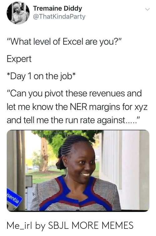 """xyz: Tremaine Diddy  @ThatKindaParty  """"What level of Excel are you?""""  Expert  *Day 1 on the job*  """"Can you pivot these revenues and  let me know the NER margins for xyz  and tell me the run rate against...."""" Me_irl by SBJL MORE MEMES"""