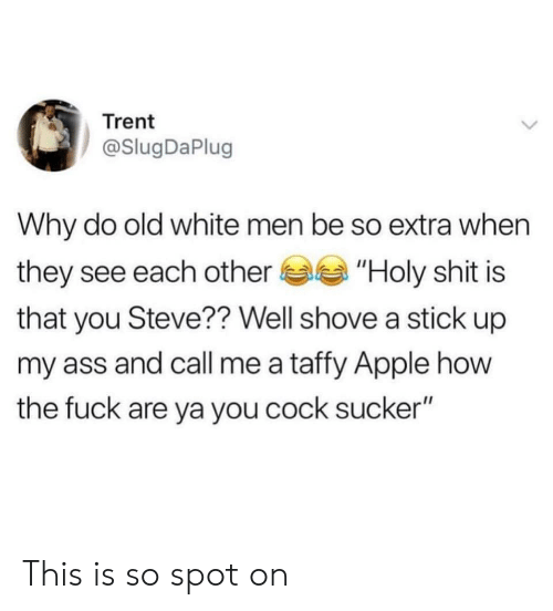 "Apple, Ass, and Shit: Trent  @SlugDaPlug  Why do old white men be so extra when  they see each other""Holy shit is  that you Steve?? Well shove a stick up  my ass and call me a taffy Apple how  the fuck are ya you cock sucker"" This is so spot on"