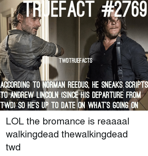 thewalkingdead: TRI EFACT #2769  TWDTRUEFACTS  ACCORDING TO NORMAN REEDUS, HE SNEAKS SCRIPTS  TO ANDREW LINCOLN (SINCE HIS DEPARTURE FROM  TWD) SO HE'S UP TO DATE ON WHATS GOING ON LOL the bromance is reaaaal walkingdead thewalkingdead twd