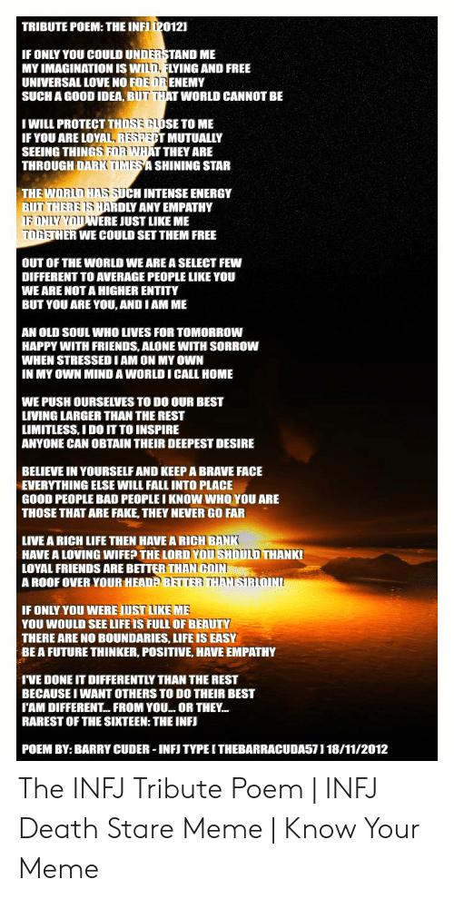Tribute Poem The Inf 20121 If Only You Could Understand Me