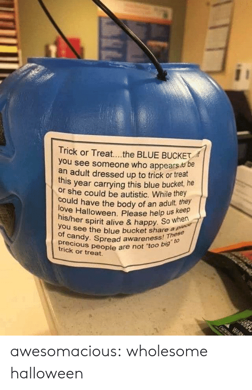 "Help Us: Trick or Treat...the BLUE BUCKET  you see someone who appears be  an adult dressed up to trick or treat  year carrying this blue bucket, he  this  or she could be autistic. While they  love Halloween. Please help us keep  his/her spirit alive & happy. So when  could have the body of an adult, they  you see the blue bucket share a plece  of candy. Spread awareness! These  precious people are not ""too big to  HE  trick or treat.  ARRA  WAR awesomacious:  wholesome halloween"