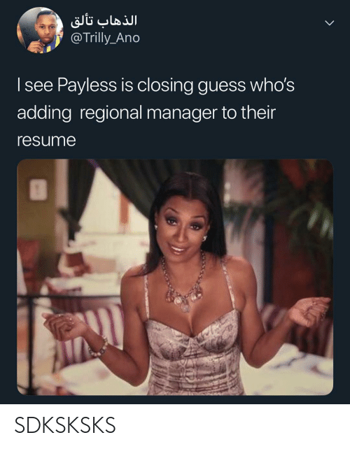 Memes, Guess, and Payless: @Trilly_Ano  I see Payless is closing guess who's  adding regional manager to their  resumne SDKSKSKS