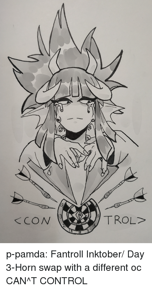 Trol: TROL>  KCON p-pamda:  Fantroll Inktober/ Day 3-Horn swap with a different oc CAN^T CONTROL
