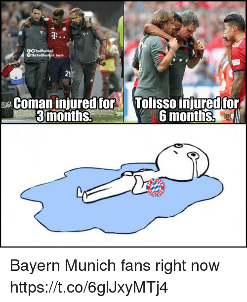Memes, Troll, and Bayern: Troll Footbal  TheTrollFootball Insta  ATAR  29  E Coa injured for Tolisso iniured for  ESLIGA  3months.  6 months,  ICHE Bayern Munich fans right now https://t.co/6glJxyMTj4
