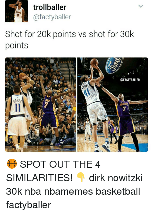Dirk Nowitzki, Memes, and 🤖: trollballer  afactyballer  Shot for 20k points vs shot for 30k  points  @FACTYBALLER 🏀 SPOT OUT THE 4 SIMILARITIES! 👇 dirk nowitzki 30k nba nbamemes basketball factyballer