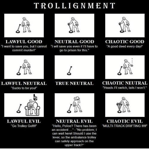 """trolleys: TROLLIGNMENT  LAWFUL GOOD  NEUTRAL GOOD  CHAOTIC GOOD  """"I want to save you, but I cannot """"I will save you even if I'Il have to """"A good deed every dayl""""  even i rI have to""""A good deed every dayr  commit murderl""""  go to prison for this.""""  LAWFUL NEUTRAL  """"Sucks to be youl""""  CHAOTIC NEUTRAL  """"Heads l'll switch, tails I won't  TRUE NEUTRAL  1n  LAWFUL EVIL  """"Go Trolley Goll!  NEUTRAL EVIL  CHAOTIC EVIL  """"Hello, Police? There has been MULTI-TRACK DRIFTING III  an accident..""""- """"No problem; I  can wait herel Should I use the  lever, so the ambulance trolley  can safely approach on the  upper track?"""""""