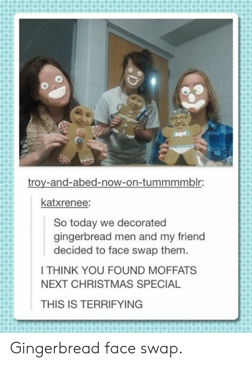 troy: troy-and-abed-now-on-tummmmblr:  katxrenee:  So today we decorated  gingerbread men and my friend  decided to face swap them.  I THINK YOU FOUND MOFFATS  NEXT CHRISTMAS SPECIAL  THIS IS TERRIFYING Gingerbread face swap.