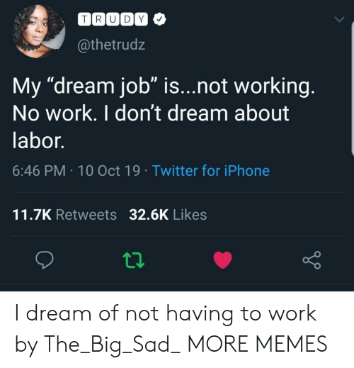"10 Oct: TRUDY  @thetrudz  My ""dream job"" is...not working.  No work. I don't dream about  labor.  6:46 PM 10 Oct 19 Twitter for iPhone  11.7K Retweets 32.6K Likes I dream of not having to work by The_Big_Sad_ MORE MEMES"