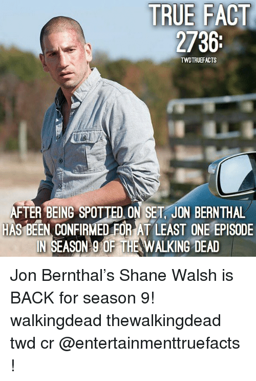 Andrew Bogut, Memes, and The Walking Dead: TRUE FACT  2736  it  TWDTRUEFACTS  FTER BEING SPOTTED ON SET, JON BERNTHAL  HAS BEEN CONFIRMED FOR AT LEAST ONE EPISODE  IN SEASON 9 OF THE WALKING DEAD  110 Jon Bernthal's Shane Walsh is BACK for season 9! walkingdead thewalkingdead twd cr @entertainmenttruefacts !