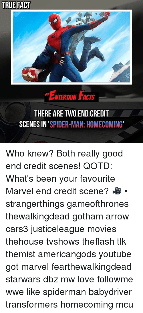 boths: TRUE FACT  ENTERTAIN FACTS  THERE ARE TWO END CREDIT  SCENES IN 'SPIDER-MAN: HOMECOMING Who knew? Both really good end credit scenes! QOTD: What's been your favourite Marvel end credit scene? 🎥 • strangerthings gameofthrones thewalkingdead gotham arrow cars3 justiceleague movies thehouse tvshows theflash tlk themist americangods youtube got marvel fearthewalkingdead starwars dbz mw love followme wwe like spiderman babydriver transformers homecoming mcu