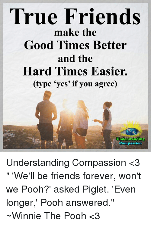 """winny: True Friends  make the  Good Times Better  and the  Hard Times Easier.  (type """"yes' if you agree)  Understanding  Compassion Understanding Compassion <3  """" 'We'll be friends forever, won't we Pooh?' asked Piglet.  'Even longer,' Pooh answered."""" ~Winnie The Pooh <3"""