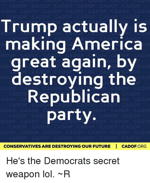 America, Future, and Memes: Trump actually is  making America  great again, by  destroying the  Republican  party  CONSERVATIVES ARE DESTROYINGOUR FUTURE I CADOF ORG He's the Democrats secret weapon lol. ~R
