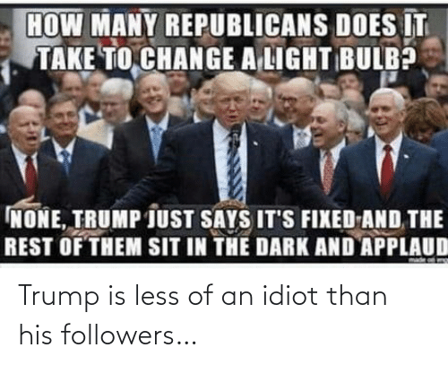 Followers: Trump is less of an idiot than his followers…