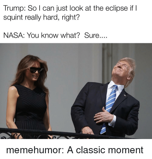 Nasa, Tumblr, and Blog: Trump: So I can just look at the eclipse if I  squint really hard, right?  NASA: You know what?Sure.... memehumor:  A classic moment