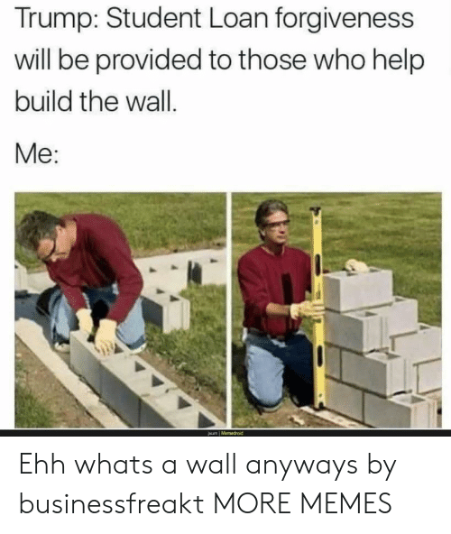 Dank, Memes, and Target: Trump: Student Loan forgiveness  will be provided to those who help  build the wall  Me: Ehh whats a wall anyways by businessfreakt MORE MEMES
