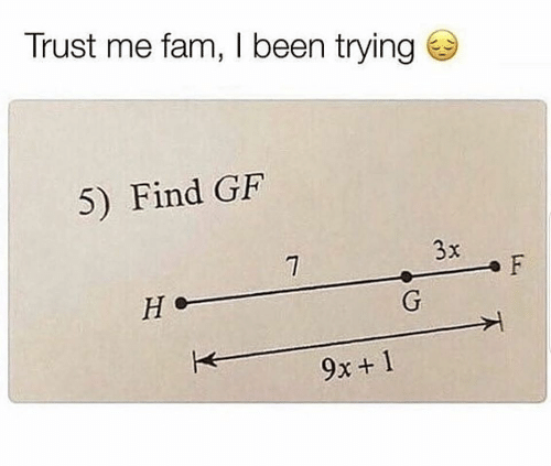 fam: Trust me fam, I been trying  5) Find GF  3x  F  Не  G  9x+ 1