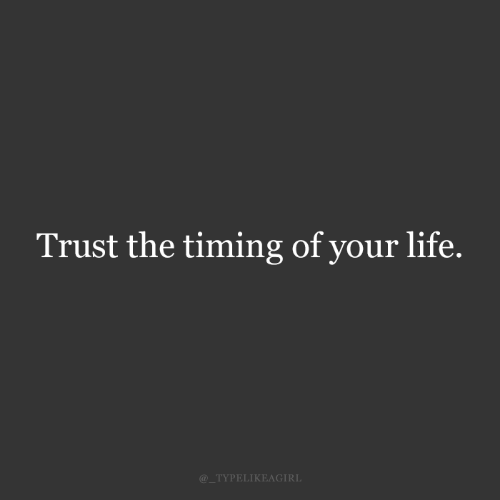 your life: Trust the timing of your life.  @_TYPELIKEAGIRL