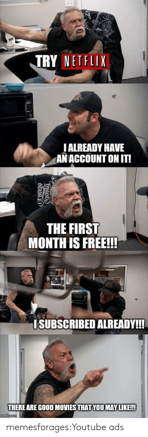 Movies, Netflix, and Target: TRY NETFLIX  IALREADY HAVE  ANACCOUNT ON IT!  THE FIRST  MONTH IS FREE!!!  ISUBSCRIBED ALREADY!!  THERE ARE GOOD MOVIES THAT YOU MAY LIKE!!!  imgflipcom  Ounu  dbuei memesforages:Youtube ads