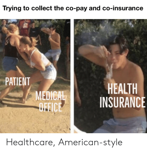 American, Health Insurance, and Office: Trying to collect the co-pay and co-insurance  PATIENT  MEDICAL  OFFICE  HEALTH  INSURANCE Healthcare, American-style
