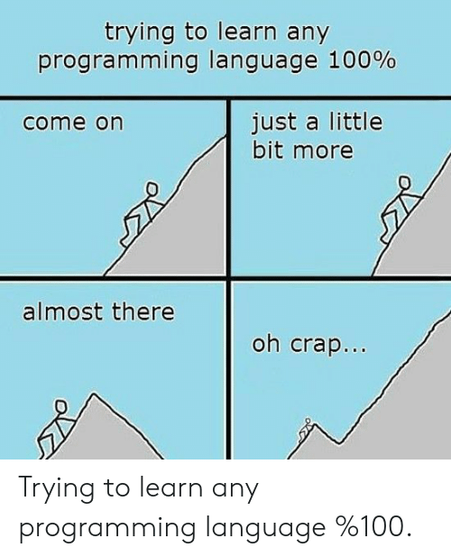 just a little bit: trying to learn any  progra m ming language 100%  just a little  bit more  come on  almost there  oh crap.. Trying to learn any programming language %100.