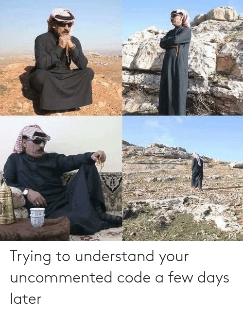 later: Trying to understand your uncommented code a few days later
