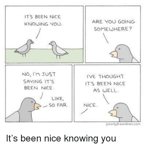 Thought, Nice, and Been: TS BEEN NICE  KNOWING YOU  ARE YOU GOING  SOMEWHERE?  No, I'M JUST  SAYING IT'S  BEEN NICE  I'VE THOUGHT  IT'S BEEN NICE  AS WELL  LIKE,  SO FAR  NICE  poorlydrawnines.com It's been nice knowing you