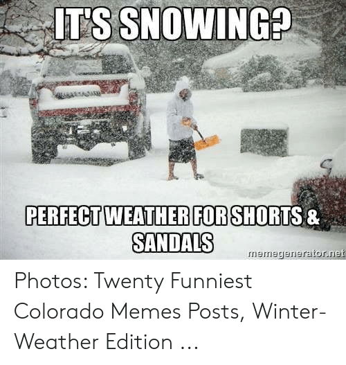 Memes, Winter, and Colorado: T'S SNOWING  PERFECT WEATHERFORSHORTS &  SANDALS  rmemegenerator.net Photos: Twenty Funniest Colorado Memes Posts, Winter-Weather Edition ...