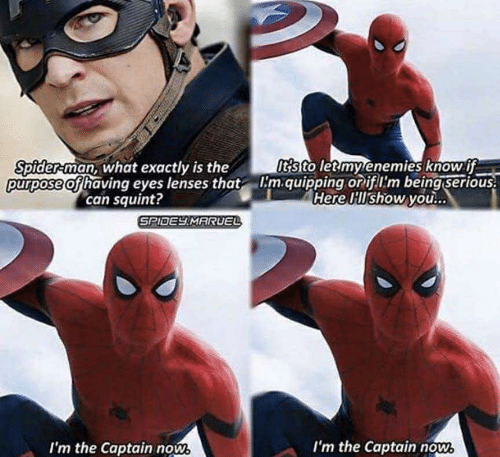 Spider, SpiderMan, and Enemies: ts to letmy enemies know ff  purpose of having eyes lenses that m.quipping oriflim being serious  Here Hlshow you...  Spider-man, what exactly is the  can squint?  SPIDEY MARUEL  I'm the Captain nows  I'm the Captain now