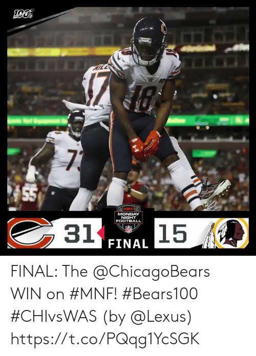 chicagobears: TTICE  KICE  73  55  MONDAY  NIGHT  31  15  FOOTBALL  NFL  FINAL FINAL: The @ChicagoBears WIN on #MNF! #Bears100 #CHIvsWAS  (by @Lexus) https://t.co/PQqg1YcSGK
