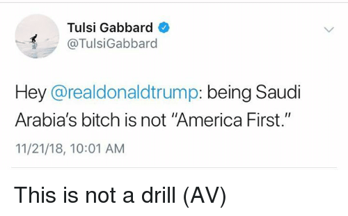 "America, Bitch, and Memes: Tulsi Gabbard  @TulsiGabbard  Hey @realdonaldtrump: being Saudi  Arabia's bitch is not ""America First.""  11/21/18, 10:01 AM This is not a drill (AV)"