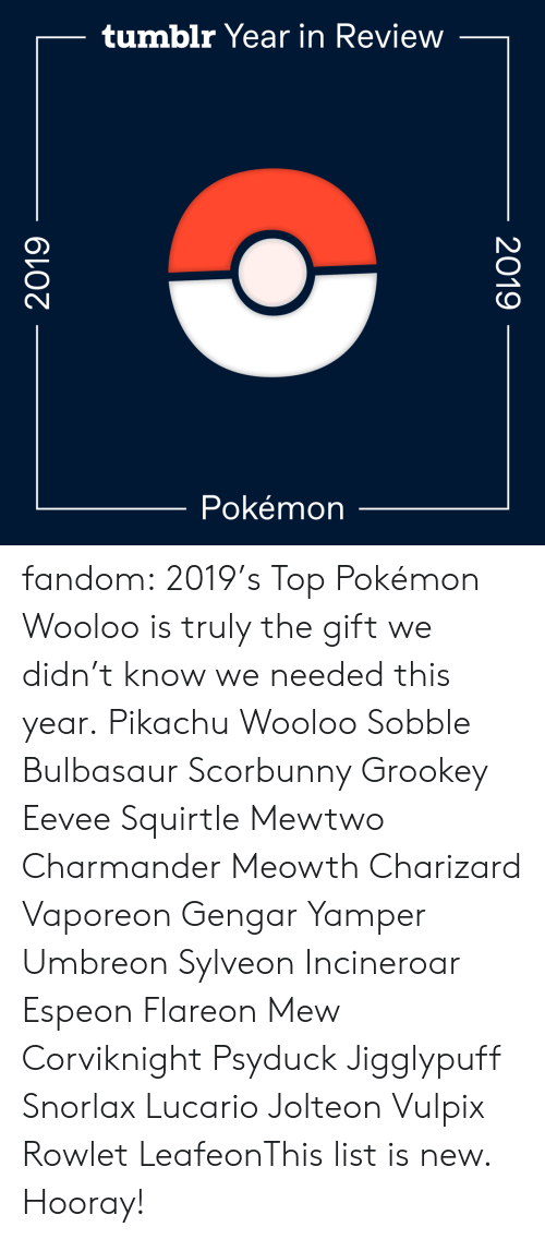 needed: tumblr Year in Review  Pokémon  2019  2019 fandom:  2019's Top Pokémon  Wooloo is truly the gift we didn't know we needed this year.  Pikachu  Wooloo  Sobble  Bulbasaur  Scorbunny  Grookey  Eevee  Squirtle  Mewtwo  Charmander  Meowth  Charizard  Vaporeon  Gengar  Yamper  Umbreon  Sylveon  Incineroar  Espeon  Flareon  Mew  Corviknight  Psyduck  Jigglypuff  Snorlax  Lucario  Jolteon  Vulpix  Rowlet  LeafeonThis list is new. Hooray!