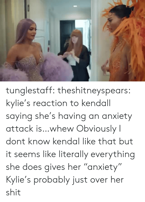 "Shit, Target, and Tumblr: tunglestaff:  theshitneyspears:  kylie's reaction to kendall saying she's having an anxiety attack is…whew  Obviously I dont know kendal like that but it seems like literally everything she does gives her ""anxiety"" Kylie's probably just over her shit"