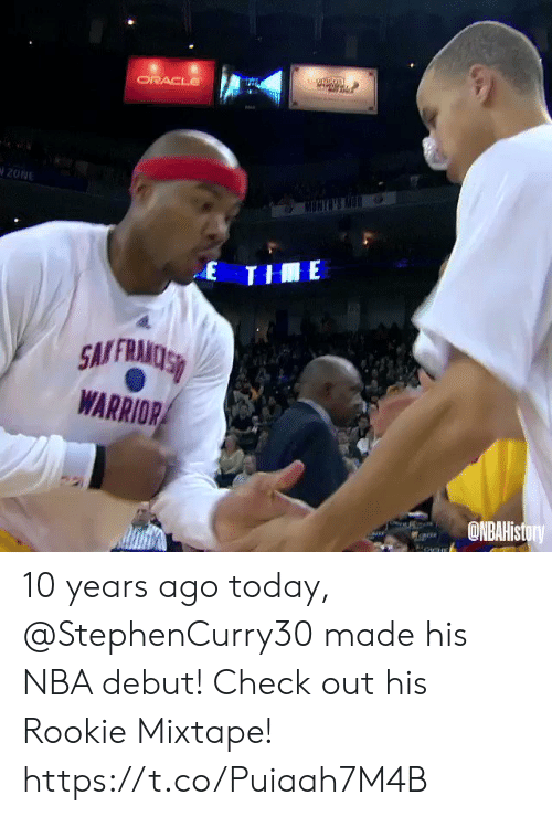 warrior: tuomcon  ORACLE  20NE  MONGNS M  E THE  SMFRAMOSS  WARRIOR  ONBAHistory 10 years ago today, @StephenCurry30 made his NBA debut!   Check out his Rookie Mixtape!   https://t.co/Puiaah7M4B