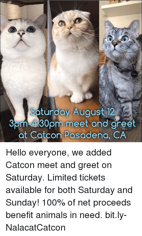saturday-and-sunday: turdoy Auaust 12  Som-430pm meet and areet  at Catcon Pasadena, CA  30  eet and gret Hello everyone, we added Catcon meet and greet on Saturday. Limited tickets available for both Saturday and Sunday! 100% of net proceeds benefit animals in need. bit.ly-NalacatCatcon