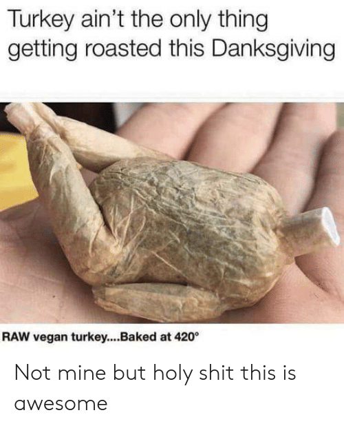 Getting Roasted: Turkey ain't the only thing  getting roasted this Danksgiving  RAW vegan turkey...Baked at 420 Not mine but holy shit this is awesome