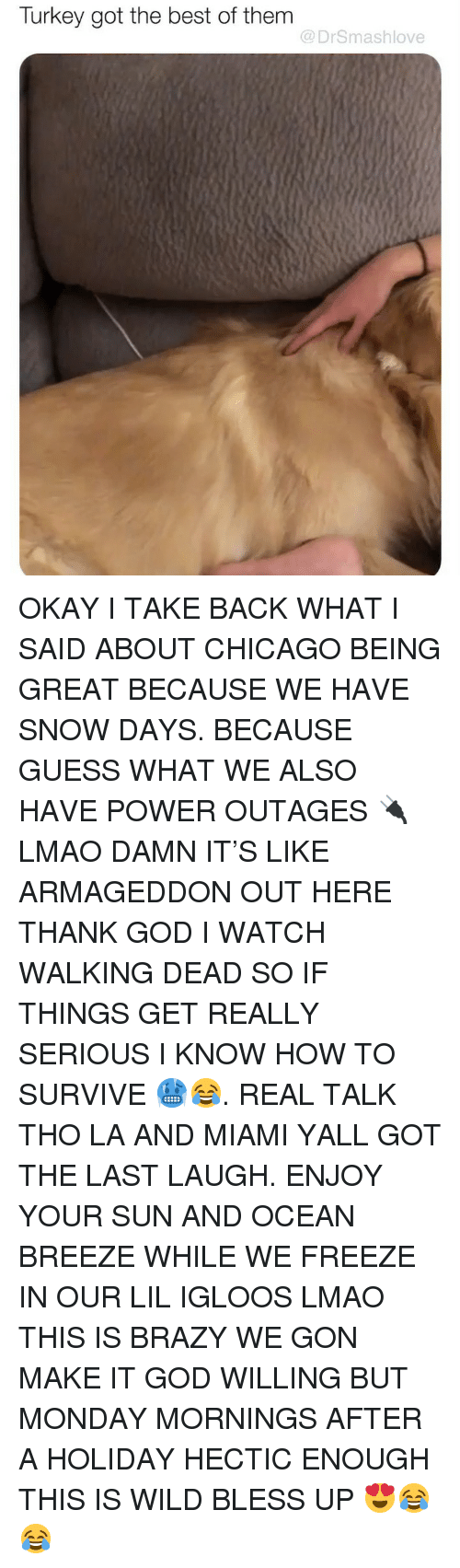 Mornings: Turkey got the best of them  @DrSmashlove OKAY I TAKE BACK WHAT I SAID ABOUT CHICAGO BEING GREAT BECAUSE WE HAVE SNOW DAYS. BECAUSE GUESS WHAT WE ALSO HAVE POWER OUTAGES 🔌 LMAO DAMN IT'S LIKE ARMAGEDDON OUT HERE THANK GOD I WATCH WALKING DEAD SO IF THINGS GET REALLY SERIOUS I KNOW HOW TO SURVIVE 🥶😂. REAL TALK THO LA AND MIAMI YALL GOT THE LAST LAUGH. ENJOY YOUR SUN AND OCEAN BREEZE WHILE WE FREEZE IN OUR LIL IGLOOS LMAO THIS IS BRAZY WE GON MAKE IT GOD WILLING BUT MONDAY MORNINGS AFTER A HOLIDAY HECTIC ENOUGH THIS IS WILD BLESS UP 😍😂😂