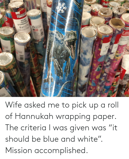 "mission: TURLE  WRAP  PAPIER  D'EMBALLA Wife asked me to pick up a roll of Hannukah wrapping paper. The criteria I was given was ""it should be blue and white"". Mission accomplished."