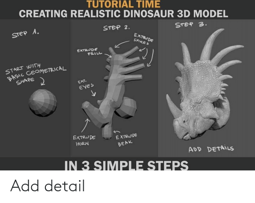 Step 3: TUTORIAL TIME  CREATING REALISTIC DINOSAUR 3D MODEL  STEP 2.  STEP 1.  STEP 3.  EXTRUDE  SPIKES  EXTRUDE  FRILL  START WITH  BASIC GEOMETRICAL  SHAPE  EXT.  EYES  EXTRUDE  EXTRUDE  HORN  BEAK  ADD DETAILS  IN 3 SIMPLE STEPS Add detail