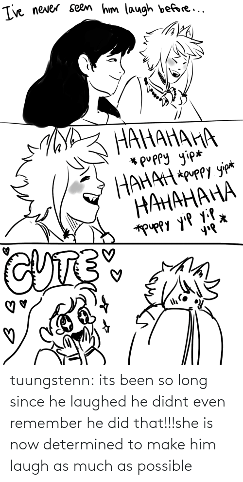 Target, Tumblr, and Blog: tuungstenn:  its been so long since he laughed he didnt even remember he did that!!!she is now determined to make him laugh as much as possible
